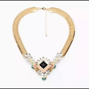 Gold toned pastel geometric necklace